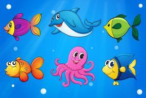 Creature marine sotto il mare vettore