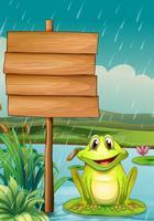 Una tavola vuota con una rana verde vettore