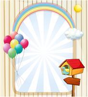 Una casa vicino a un modello vuoto con palloncini e arcobaleno vettore