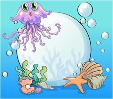 Una grande perla e il polpo viola sotto il mare