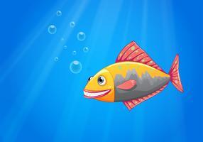 Un pesce sorridente nell'oceano vettore