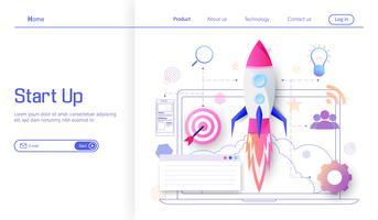 Lancio di un razzo a target per il successo e il reddito business moderno concetto di design piatto, processo di avvio del progetto di business, idea attraverso la pianificazione e il vettore di strategia