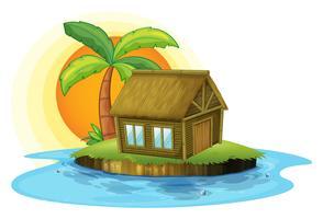 Un'isola con una casa di bambù vettore