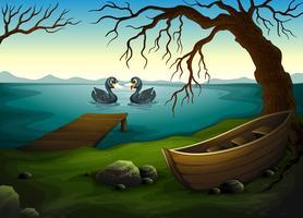 Una barca sotto l'albero vicino al mare con due anatre vettore