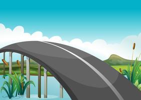 Una strada curva sopra il lago vettore