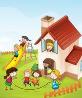 bambini e una casa vettore