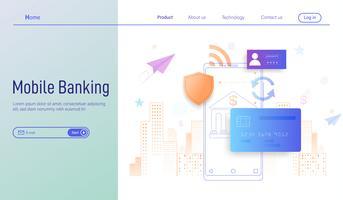 Concetto di design piatto moderno di mobile banking per pagina di destinazione, pagamento online e protezione di denaro nel vettore di transazioni smartphone.