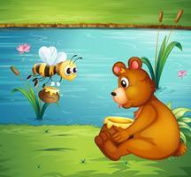 Un orso e un'ape sulla sponda del fiume