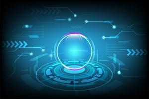 Fondo astratto di tecnologia con il concetto futuristico di Ciao-tecnologia, fondo cyber dell'innovazione di tecnologia. illustrazione vettoriale