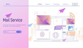Posta elettronica o servizi di posta elettronica moderno concetto di design piatto