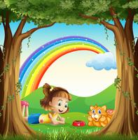 Una ragazza e il suo animale domestico nella foresta con un arcobaleno nel cielo