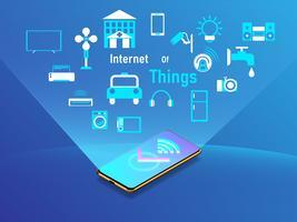 internet del concetto di design di cose con lo smartphone. Illustrazione vettoriale
