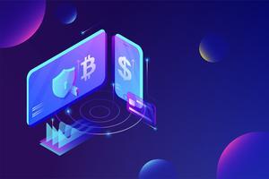 Concetto di servizio di piattaforma di scambio di Cryptocurrency online. vettore