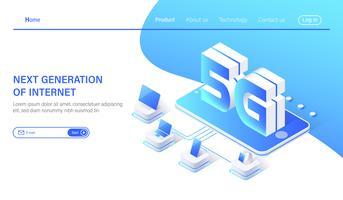 Sistemi wireless di rete mobile isometrica 5G e illustrazione vettoriale di internet.