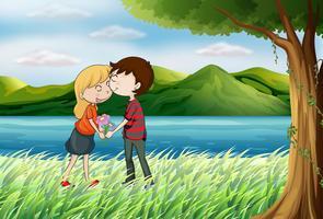 Amanti vicino al fiume