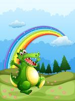 Un coccodrillo che cammina e un arcobaleno nel cielo