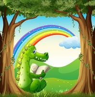 Un coccodrillo che legge sotto l'albero sotto l'arcobaleno