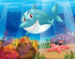 Uno squalo e una stella marina sotto l'acqua vettore