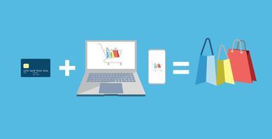 Vettore di progettazione di concetto di pagamento online, shopping online.