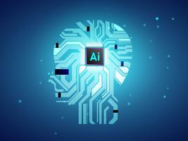 CPU di Intelligenza Artificiale con concetto di cervello, calcolo di Ai con circuito stampato, apprendimento automatico vettore