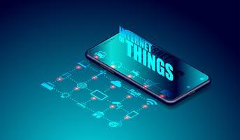 Internet IOT di cose su applicazioni per smartphone, smartthings collegati tra loro e controllo remoto tramite il vettore del dispositivo smartphone