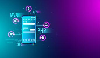 Concetto di progettazione e sviluppo dell'interfaccia utente dell'applicazione mobile sullo schermo dello smartphone e sul linguaggio di programmazione Vettore. vettore