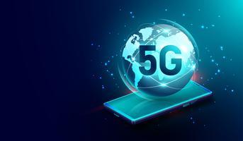 Connessione wireless di rete 5G sul concetto di smartphone, rete globale internet e internet delle cose Vettore. Elemento di questa immagine fornita dalla Nasa