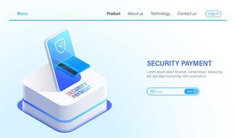 Pagamento isometrico di sicurezza e concetto di tecnologia di protezione dei dati, pagamento online da smartphone e carta di credito con tecnologia di sicurezza vettoriale. vettore