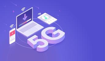 Internet della rete 5G collegato dal vettore isometrico moderno di concetto del computer portatile dello smartphone, della compressa e del computer Vettore.