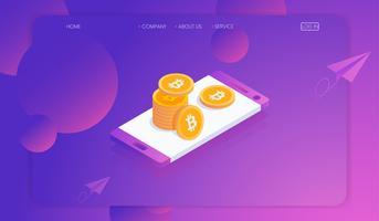 Criptovaluta Bitcoin e blockchain con il concetto di smartphone, trading sul mercato monetario digitale. Illustrazione vettoriale isometrica