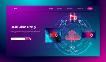 Concetto di servizio di archiviazione online cloud, connessione di cloud con laptop, smartphone e laptop, trasferimento dati, sincronizzazione vettoriale
