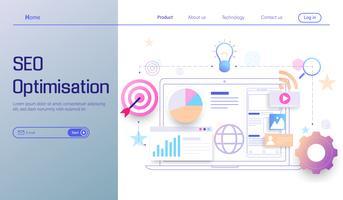 Tecnologia di ottimizzazione SEO moderna design piatto, analisi dei motori di ricerca, analisi dei dati web, social e dati di analisi dei dati vettoriali