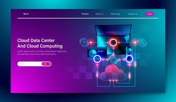 Design piatto moderno di servizio Cloud data center e Cloud computing tecnologia di archiviazione online su computer, tablet e concetto di connessione dispositivo mobile per il modello di pagina di atterraggio Vector.