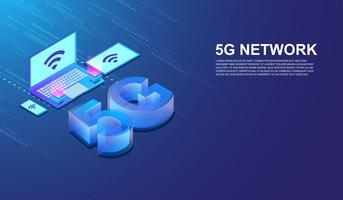Internet della rete 5G collegato dal vettore isometrico di concetto del computer portatile dello smartphone, della compressa e del computer Vettore.