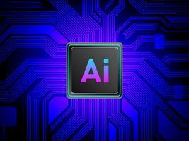 Concetto di processori di CPU di Intelligenza Artificiale, Ai computing con circuito stampato, apprendimento automatico vettore