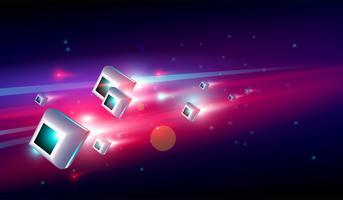 Big data center con il concetto di sistema ad alta velocità 3D glow box. Vettore