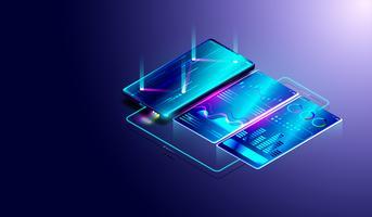 Analisi delle tendenze di business sullo schermo isometrico dello smartphone con grafici e diagrammi, processo di analisi finanziaria e dei dati.