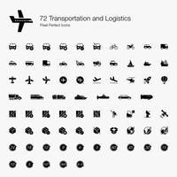 72 Icone perfette per pixel di trasporto e logistica (stile pieno).