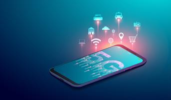 Sistemi wireless di rete 5G, smart city e internet del concetto di cose con icone sullo schermo dello smartphone. illustrazione vettoriale.