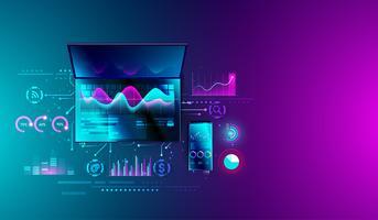 Analisi di statistiche finanziarie su laptop e smartphone con grafici, pianificazione aziendale, ricerca, strategia di marketing e analisi del sistema di analisi dei dati. può essere utilizzato per il web e la presentazione. Vettore