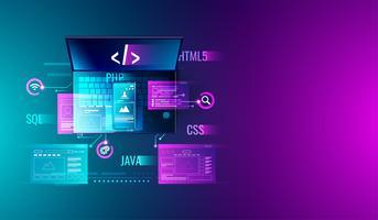 Sviluppo Web, progettazione di applicazioni, codifica e programmazione su laptop e smartphone con linguaggio di programmazione e codice di programma e layout su schermo.