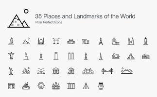 35 luoghi e punti di riferimento del mondo Pixel Perfect Icons (stile della linea).