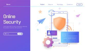 Tecnologia di sicurezza online, protezione dei dati personali e sicuro bancario moderno concetto di design piatto vettoriale