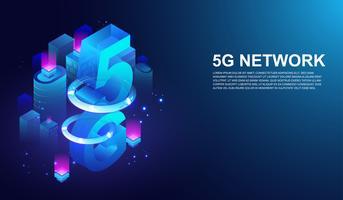 Sistema wireless di rete 5G, 5 ° telecomunicazione internet sul concetto di città intelligente Vettore.