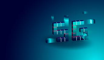 Bandiera di concetto isometrico tecnologia 5G con scatola galleggiante 3D. vettore