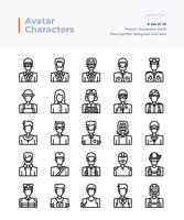 Set di icone vettoriali linea dettagliata di persone e avatar. Cifra perfetta e modificabile Pixel 64x64.