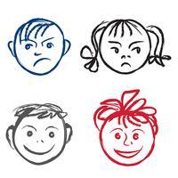 I bambini sorridono e la faccia triste. Profilo di facce con diverse espressioni impostate. vettore