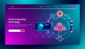Design piatto moderno di Cloud computing tecnologia di archiviazione online su tablet e concetto di connessione dispositivo mobile per il modello di pagina di atterraggio Vector.