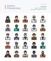 Set di icone di colore linea vettoriali dettagliate di Poeple and Avatar. Pixel 64x64 Corsa perfetta e modificabile.
