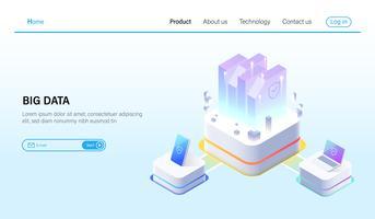 Isometrico di Big data processing e concetto di server di hosting di dati, datacenter, tecnologia blockchain e cloud storage online Vector.